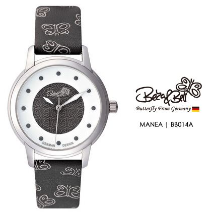 MANEA BB014A  | Meterail:316L Stainless Steel  | Movement: MIYOTA 2035  | Case Size: 30mm  | Band Size: 14mm  | Band: Butterfly Engraved Genuine Leather  | Glass: Hardened Mineral Crystal  | Water Resistance : 3 ATM