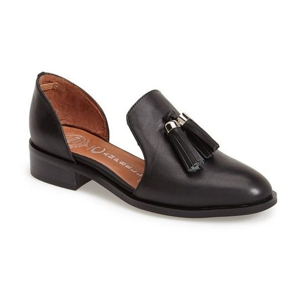 """Jeffrey Campbell 'Open Case' Tasseled Leather Flat, 1 1/4"""" heel ($135) ❤ liked on Polyvore"""