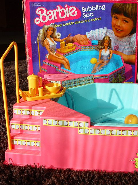 Barbie Bubbling Spa. Also requiring at least a gallon of water. Barbie don't mess around.