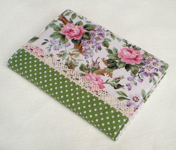 Fabric Journal Cover Dotty Roses Handmade $18