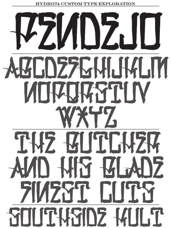 Custom typography that Hydro74 has created.