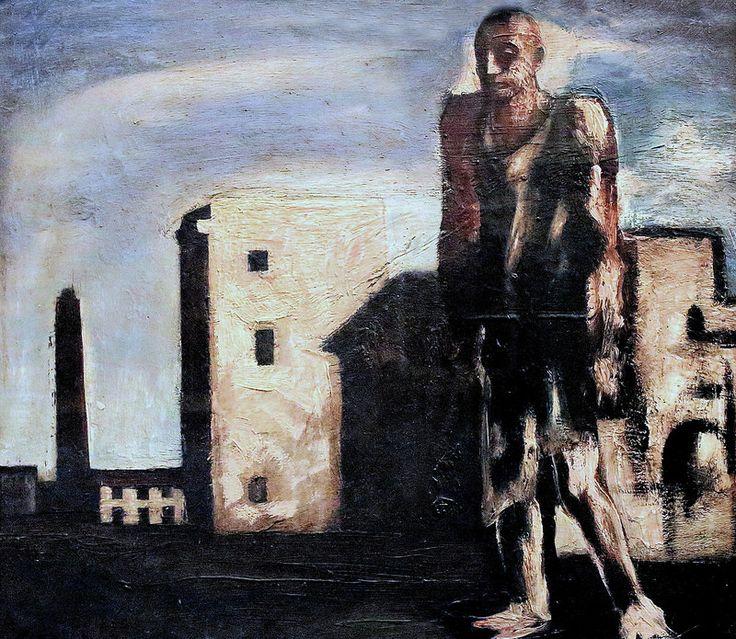 Mario Sironi. 1885-1961. Cityscape with traveler. 1929   #TuscanyAgriturismoGiratola