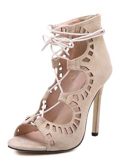 Apricot High Heel Hollow Sandals 34.33