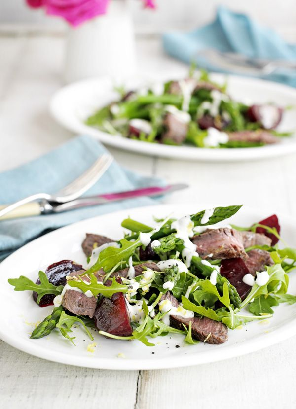 Steak always feels like a treat to us. This steak salad with asparagus and earthy beetroot is perfect for a lighter dinner during the summer months. It's less than 300 calories per portion and ready in under 30 minutes!