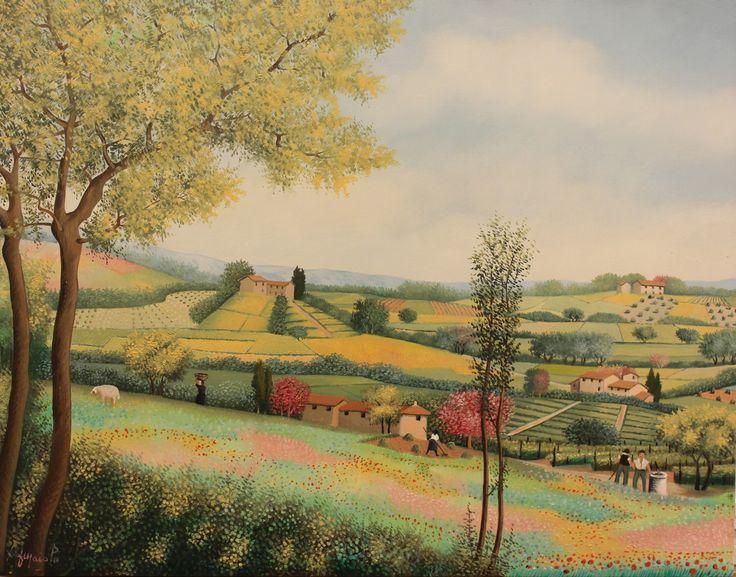 "Francesco Maiolo, ""Landscape with Farmer"", 2007-8, Oil on board, 35X45cm"