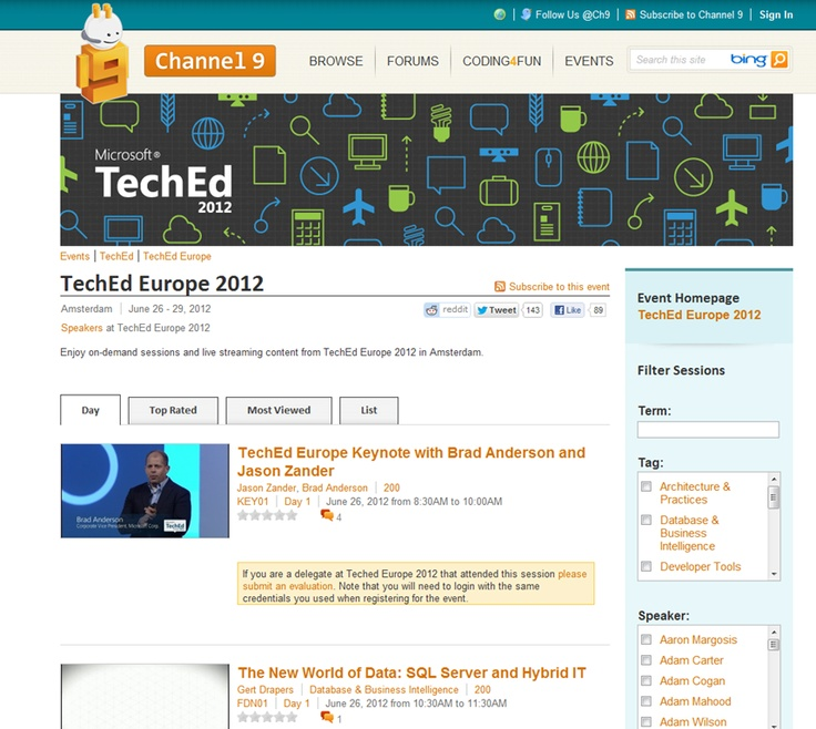 All TechEd Europe 2012 sessions and keynotes now online for your On-Demand pleasure:  Internet Site,  Website, Web Site