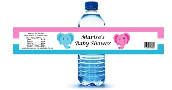 Twin Baby Shower Favors Water Bottle Labels  49 on Etsy, $45.00