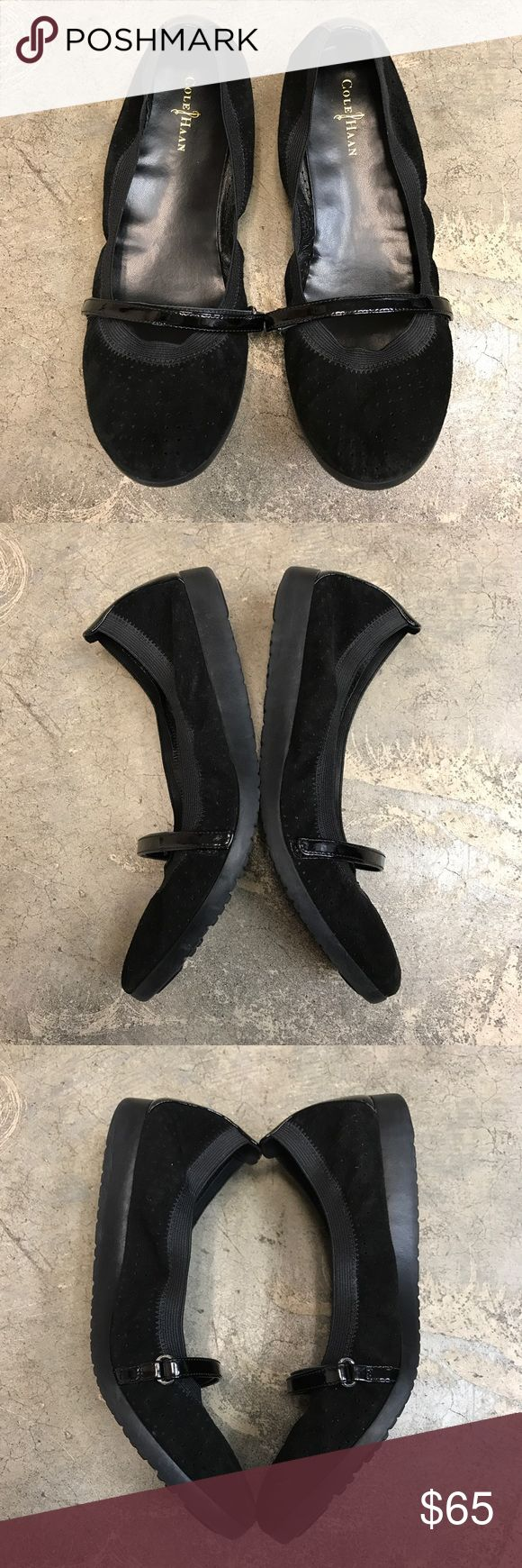 Cole Haan Black Flats Scrunchy style classic flats! They have a nice patent leather Velcro strap across the top. NWOT excellent condition! Cole Haan Shoes Flats & Loafers