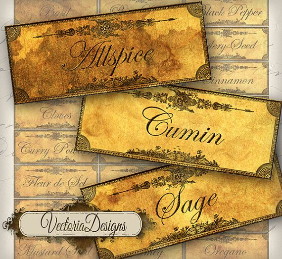 Grunge Spice and Herbs Labels printable images by VectoriaDesigns, $3.20