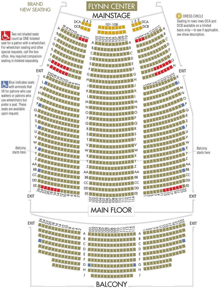 Flynn Center Mainstage Seat Map Burlington Vt Seating