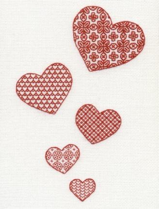 Blackwork Scarletwork Embroidery Kit - Lovehearts