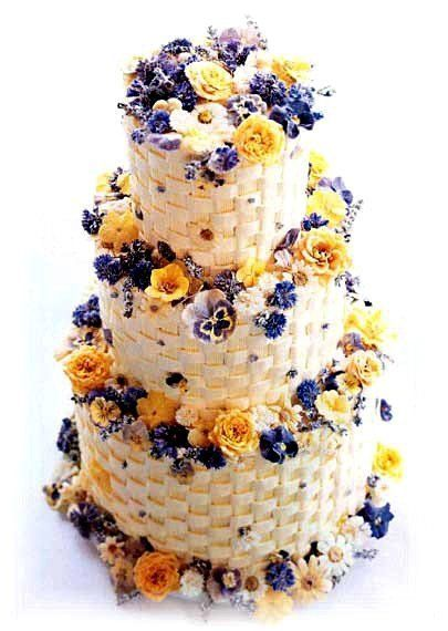 3 story pansy wedding cake.