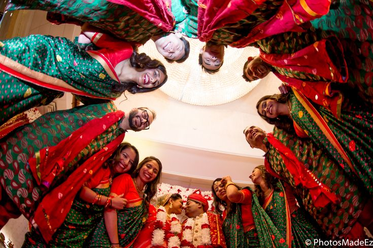 Bridal Party Photo.Tamil Groom, Gujarati Bride in mixed wedding. Along with Mandaps by Dhoom and DJ Magic Mike, Wedding Coordinator Pearl Events. #sommyshiks
