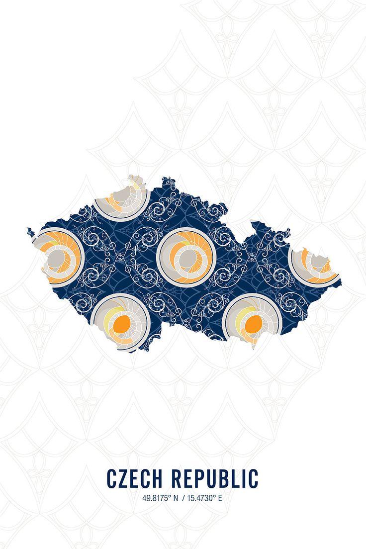Czech Republic Map Print 1523 best Products