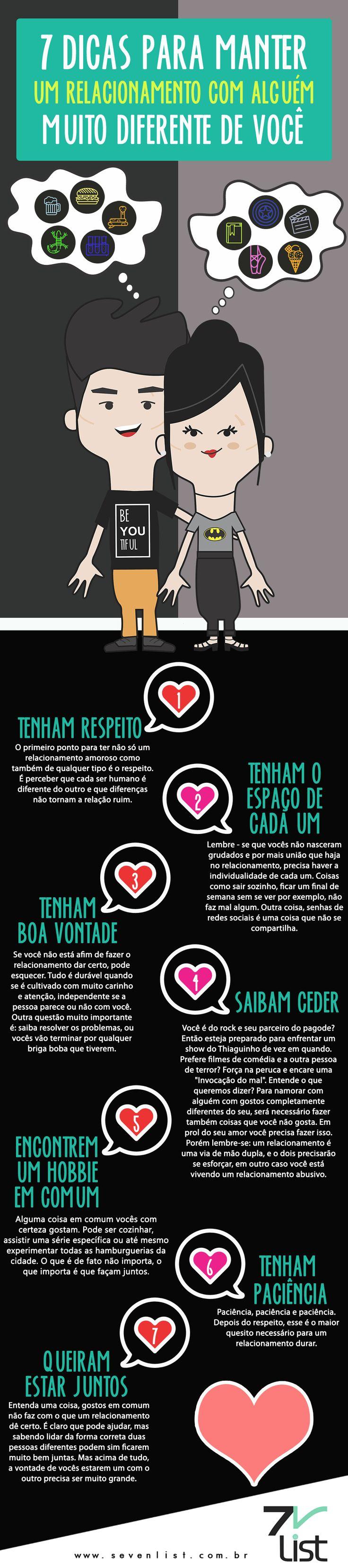 Dizem que os opostos se atraem, e quem namora com alguém com gostos muitos diferentes do seu sabe do que estamos falando. Confira nossa lista com 7 dicas para manter um relacionamento com alguém muito diferente de você. #SevenList #Dicas #Blog #Brasil #Love #Date #Namoro #Namorar #Girlfriend #Boyfriend #Lover #Relacionamento