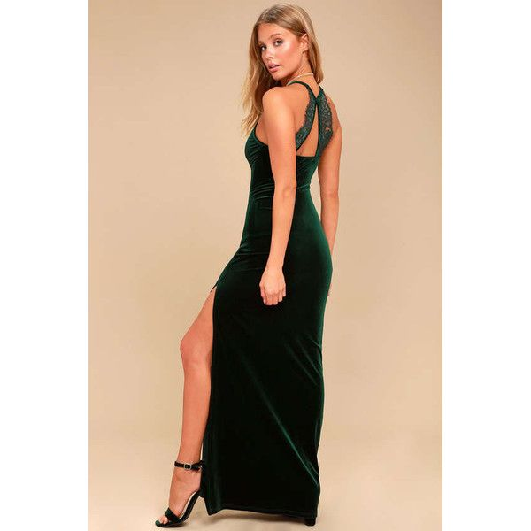 Lulus  Crazy Over You Forest Green Velvet Maxi Dress ($64) ❤ liked on Polyvore featuring dresses, green, long maxi skirts, maxi skirts, sexy velvet dress, beige maxi skirt and beige maxi dress