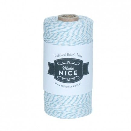 1 Spool (aprox 100metres) Blue and White 100% cotton Bakers Twine - All the blues party packs $105 http://www.strawberry-fizz.com.au