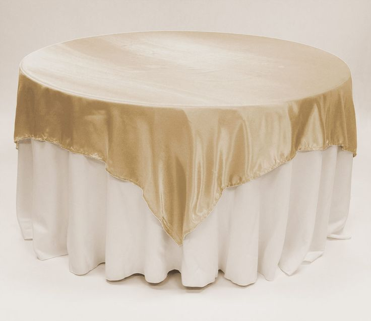 Champagne Satin Table Overlay 90 Square - $7.39 : Discount Wedding Linens & Favors Chair Covers and tablecloths