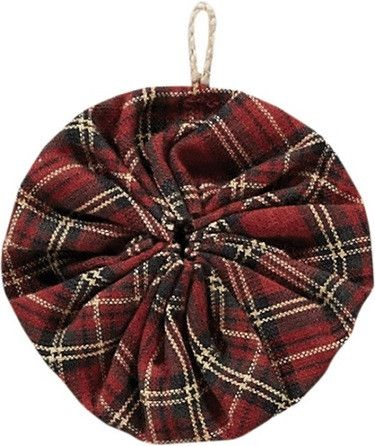 """Tea Cabin Yo-Yo Ornaments - Set of 6 These round Yo-Yo ornaments are made from red plaid. You will get a set of 6 to help decorate your country Christmas tree. They measure 3"""" and include a 1/2"""" twine"""