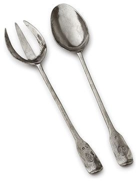 restaurant flatware with three prong fork | Vintage Pewter Fork and Spoon Set transitional-flatware