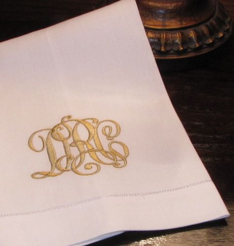 Our popular 'Kate' monogrammed linen guest towel. http://bellalino.com/Monogram%20Guest%20Towels/kate%20guest%20towel.htm