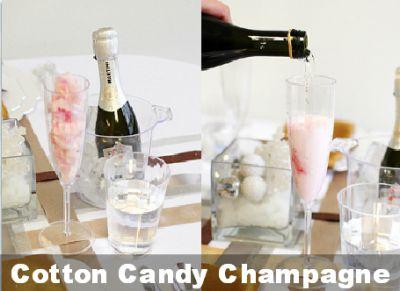 Coctel de champan y algodon de azucar