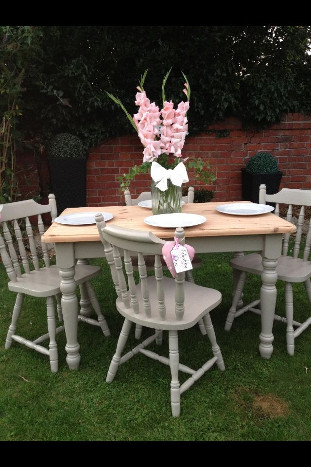 Pine Table And Chairs Restored Using A Light Grey Colour