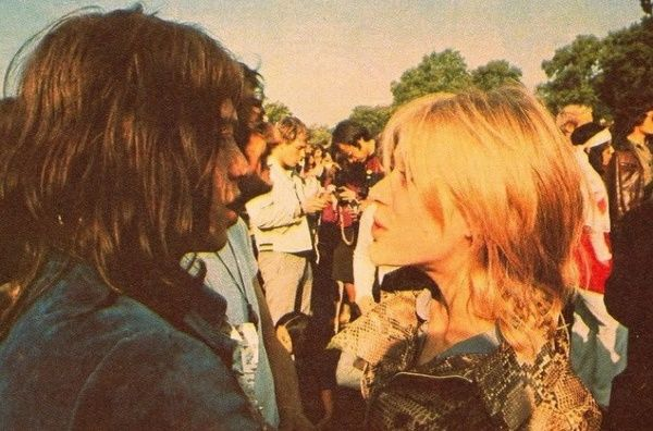 Mick with Marianne Faithfull May, 1969, at a Hyde Park concert, where he got the idea to premiere the band with Mick Taylor. And then, Brian died, turning the July 1969 concert into a literal death and rebirth spectacle.