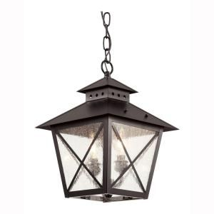 Bel Air Lighting Farmhouse 2-Light Outdoor Hanging Black Lantern with Seeded Glass-40174 BK at The Home Depot