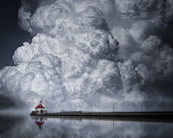 A Cloudy Day in Canal Park, Duluth  (lighthouse at Canal Park, Duluth, MN)