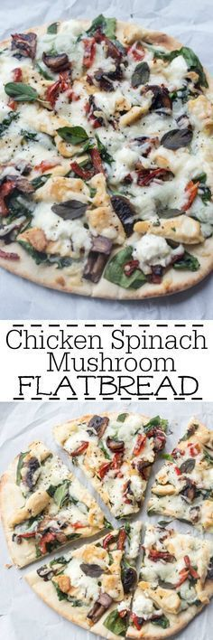 Thin pita or flatbread with chicken, mushrooms, pepper, spinach, tomatoes, goat cheese and mozzarella cheese. So easy to make and so delicious. http://ValentinasCorner.com