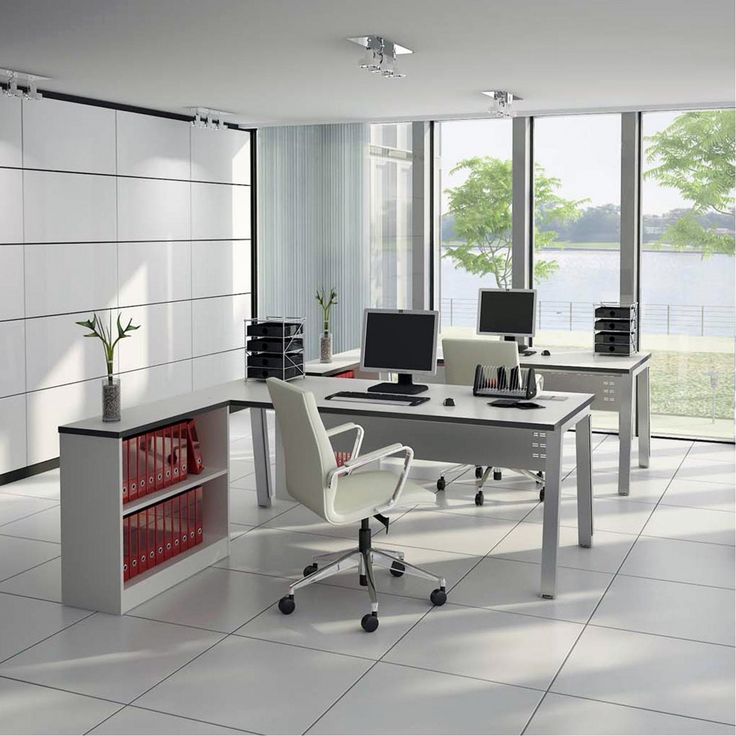 Terrific Home Office Furniture Design Presenting Elegant Double White Polished Wood L Shaped Ikea Desk Computer Layout With Storage For Arsip Shelf And Executive White Managerial Office Chairs Together With Brushed Nickel Assembly Hardware As Well As Bush Office Furniture And Wood Office Furniture, The Best And Cool Home Office Furniture Design Ideas: Furniture, Interior, Office Room, Work Space