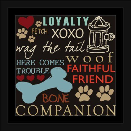 Dog Words Paw Print Bone Fire Hydrant Inspirational Pet Collage Typography Blue & Brown, Framed Canvas Art by Pied Piper Creative, Size: 30 x 30