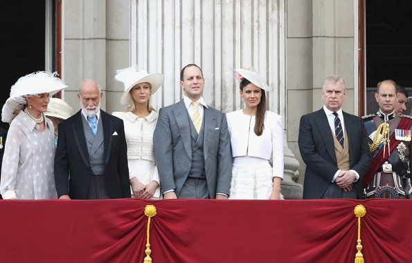 1453-The British Royal Family celebrates Trooping The Colour 2017: Princess Michael of Kent, Prince Michael of Kent, Lady Gabriella Windsor, Lord Frederick Windsor, Lady Sophia Windsor, Prince Andrew The Duke of York and Prince Edward Earl of Wessex