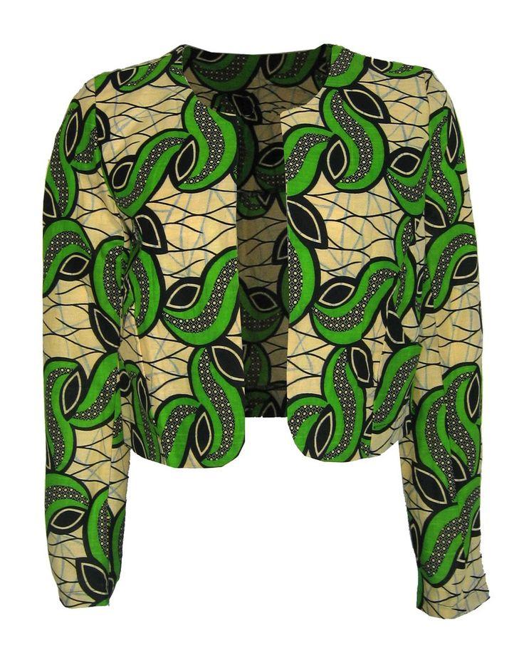 Fair Trade African Print Round Neck Jacket
