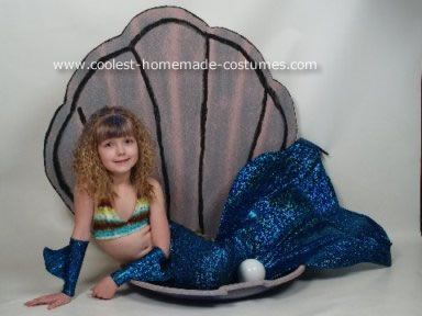 Homemade Mermaid Costume: This costume was used for Halloween and for Savannah Rose's 9th birthday party which was themed UNDER THE SEA.    The Mermaid tail is a special home made