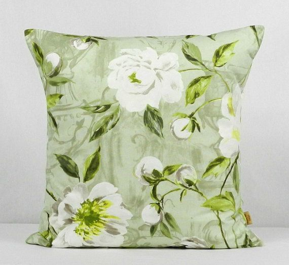 24x24 Decorative throw pillow cover, Willow 24 inch pillow Sham case,Floral  vintage shabby chic pillow cover, Sage Green Throw pillow cover  From:  honeybeedesign20