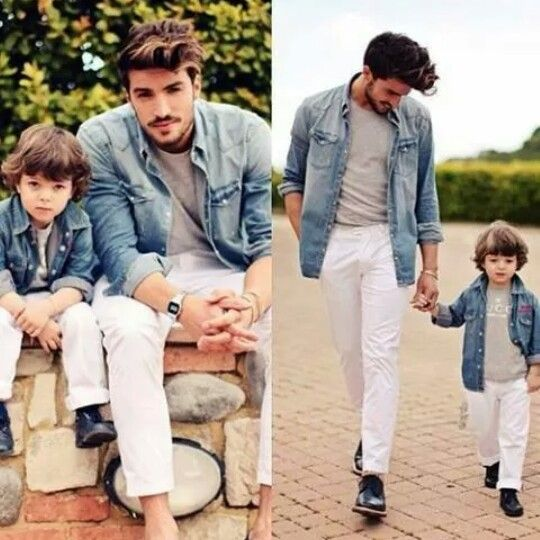 White pants & jean jacket | Like Parents like kids | Pinterest ...