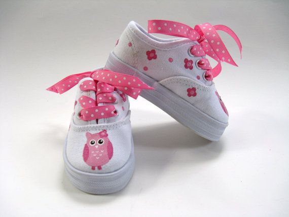 Girls Owl Shoes, Baby and Toddler, Cotton Canvas, Kids Sneakers, Hand Painted