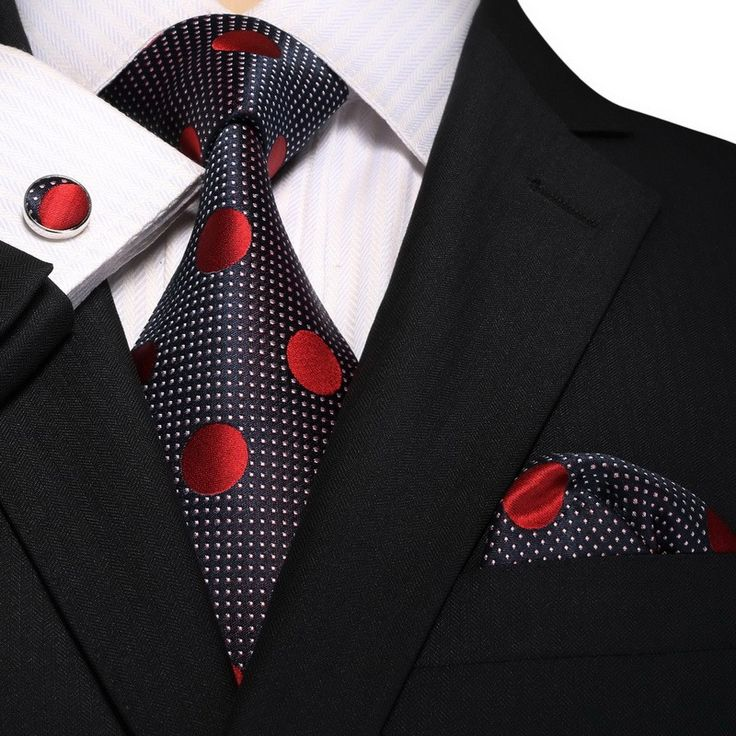 Men's Red And Navy Blue Polka Dots 100% Silk Neck Tie Set