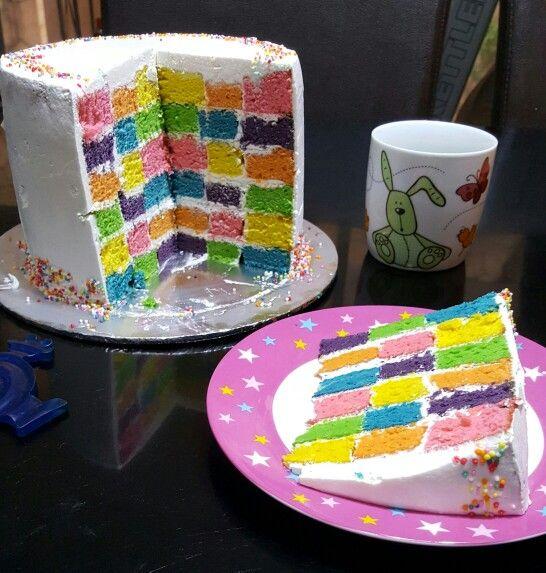 Rainbow checkerboard cake :)