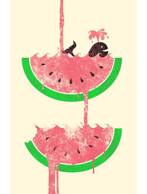 watermelon drawing #whale #cute #summer