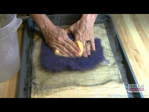 ▶ Nuno Felting, felting a silk scarf - YouTube