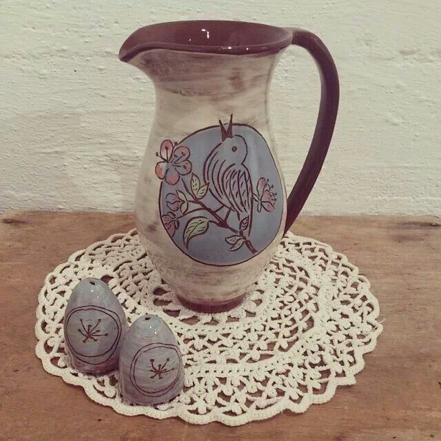 Apple flower decorated mug. Earthenware with slip decoration. Salt and pepper set. By potter Ingrid Kristne Lund.