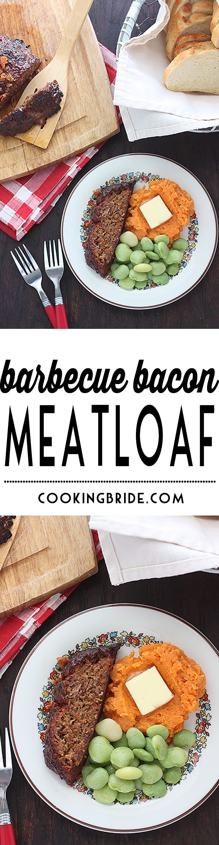 Bacon and spices are blended to form a paste that's mixed right into ground beef. This barbecue bacon meatloaf is then topped with homemade BBQ sauce.