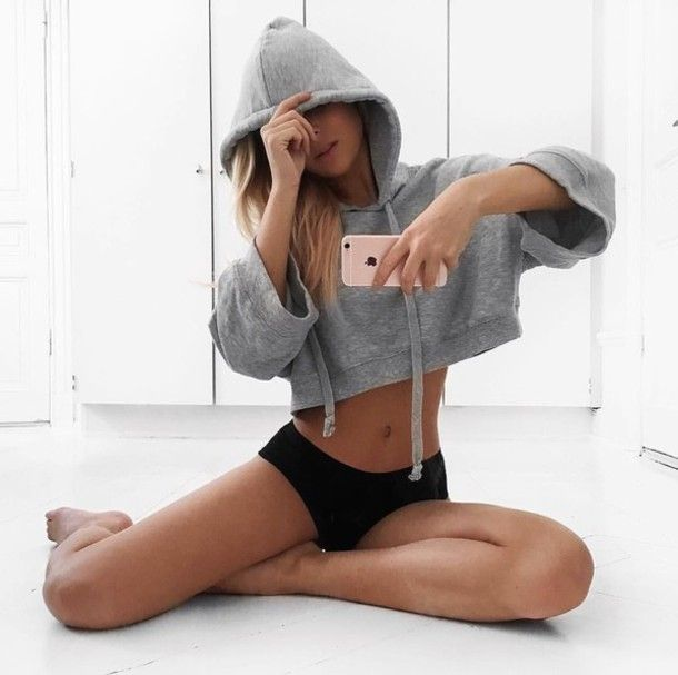 Top: cropped hoodie hoodie grey hoodie panties black panties tumblr apple iphone sportswear