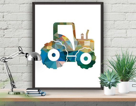 Tractor Nursery Art Print Colourful Tractor by ATArtDigital