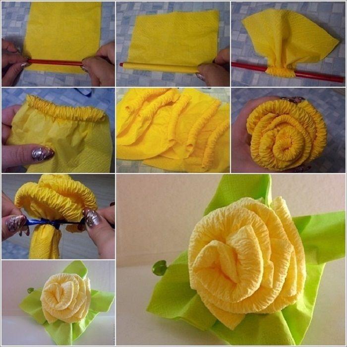Как сделать из бумажных салфеток цветы своими руками для начинающих