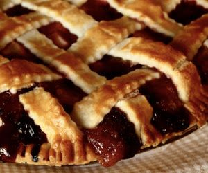 Blackberry and apple pie.Delicious dessert with fresh blackberries and apples cooked in oven.