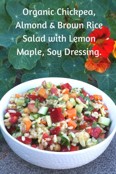 Organic Brown Rice, Chickpea and almond salad with lemon, maple soy dressing.web